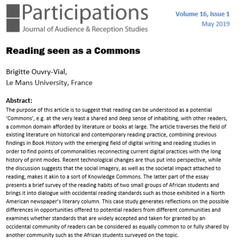 New publication (May 2019): 'Reading seen as a Commons' by READ-IT PI Brigitte Ouvry-Vial
