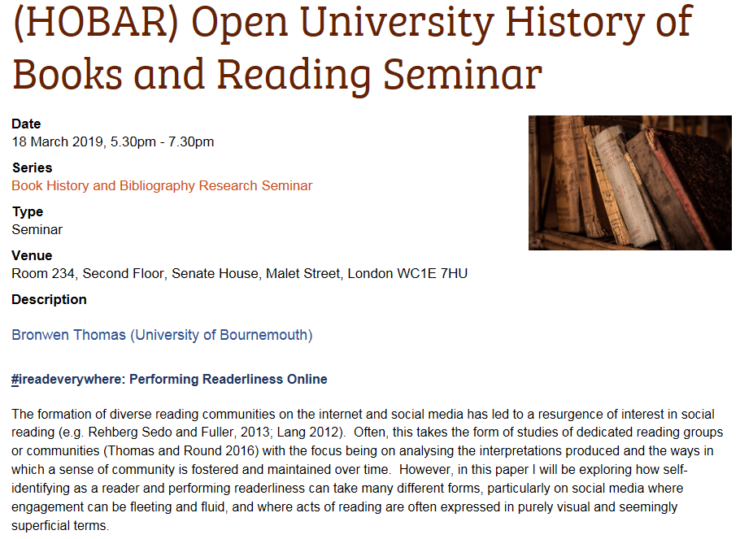READ-IT related seminar: '#ireadeverywhere: Performing Readerliness Online', 18.03.2019