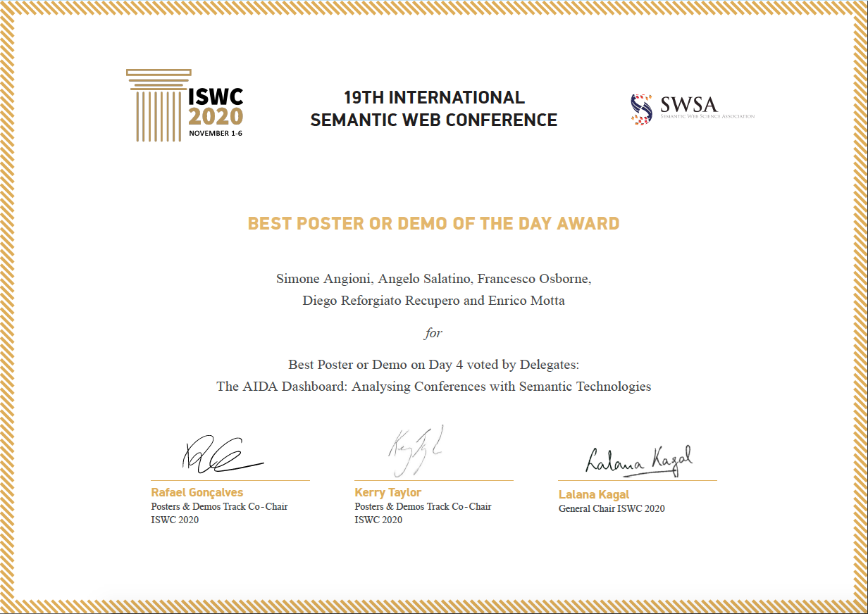 ISWC2020 – Best Demo of the Day Award